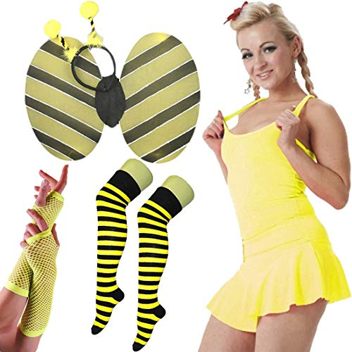 Islander Fashions Damen Hen Night Bumble Bee Stag Tun Kost�m Womens Dance Party Complete Outfit EU 42 (Outfit Bumble Bee)