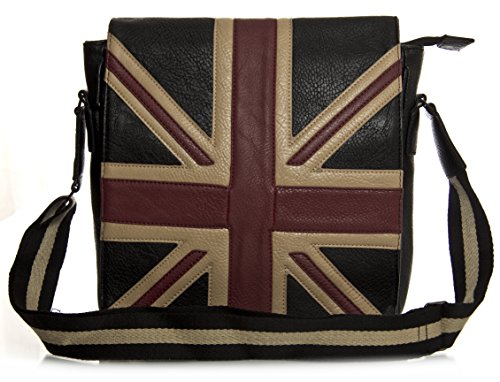 BHBS Unisexe Drapeau du Royaume-Uni Mode Vogue Mode Messager Sac Bandoulière - Petit 29x30x6 cm (LxHxP)