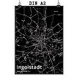 Mr. & Mrs. Panda Poster DIN A2 Stadt Ingolstadt Stadt Black