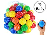 #7: iPearl Plastic Color Balls Genuine Quality Set of 15 - 8 cm Diameter Similar Size of Cricket Ball