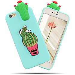 Funda iPhone 6 / 6S, iPhone 6 Funda Silicona, SpiritSun Soft Carcasa Funda iPhone 6S Kawaii 3D Diy Case Carcasa Goma Flexible Ultrafina TPU Bumper Shock- Absorción y Anti-arañazos Parachoques Protectora Carcasa para iPhone 6 / 6S (4.7 pulgadas) - Cactus