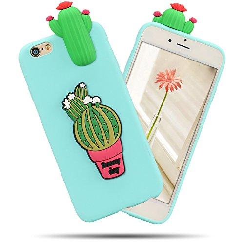 Cover iPhone 7 Spiritsun Case iPhone 8 Custodia Moda Ultraslim Soft TPU Case 3D Diy Handy Kawaii Cover High Quality Case Elegante Souple Flessibile Liscio Copertura Perfetta Protezione Shell Morbido S Cactus