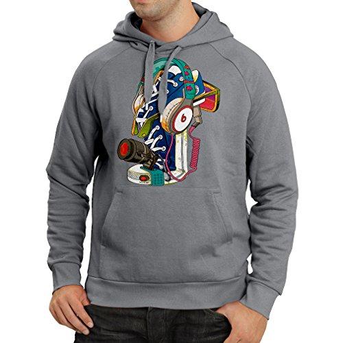 Felpa con Cappuccio Sneakers di Street Art con Cuffie: Musica, Party, Hip Hop. Stile Hipster, Moda Alternativa Grafite Multicolore