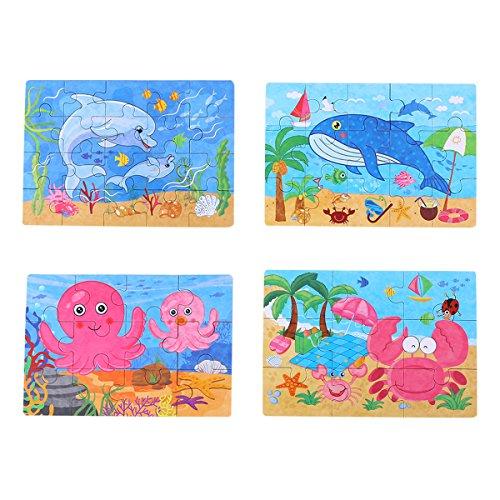 (Toyvian 4-in-1 Bildung und Lern Intelligenz Spielzeug Holz Puzzles Jigsaw für Kleinkinder kognitive Entwicklung Vorschul Anerkennung Spielzeug Kinder Geschenk)