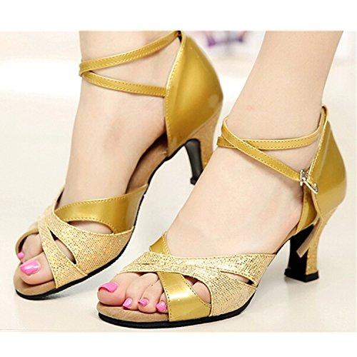 Yff Cadeau Femmes Chaussures De Danse Latine Danse De Salon Tango Chaussures De Danse 7.5cm Doré