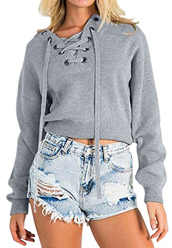 AIYUE Damen V-Ausschnitt mit verstellbarem Band hohlen Langarm Pullover sexy Oberteil Strickpullover, One Size, Grau