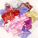 100 pieces Organza Gift Bags - 7x9cm Mixed Pattern Mixed Colour by k2-accessories Organza Bags