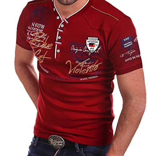 Xmiral T-Shirt Herren Buchstabe Drucken Einfaches Poloshirt kurzärmliges V-Ausschnitt Oberteile Atmungsaktives Sportshirt Komfortables kurzärmliges Funktionsshirt(Wein,XL)