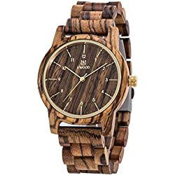 Vintage Style Eco-Friendly Handmade With 100% Natural Zebrawood Wrist Watch
