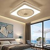 Ganeep LEDDimmable Ventilador de techo cuadrado del metal luz de techo de la lámpara ahorro de energía de silencio con control remoto creativo moderno dormitorio de la lámpara de oficina Restaurante S