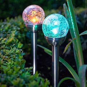 lot de 2 lampes solaires piquet en verre craquel avec led de couleur changeante de lights4fun. Black Bedroom Furniture Sets. Home Design Ideas