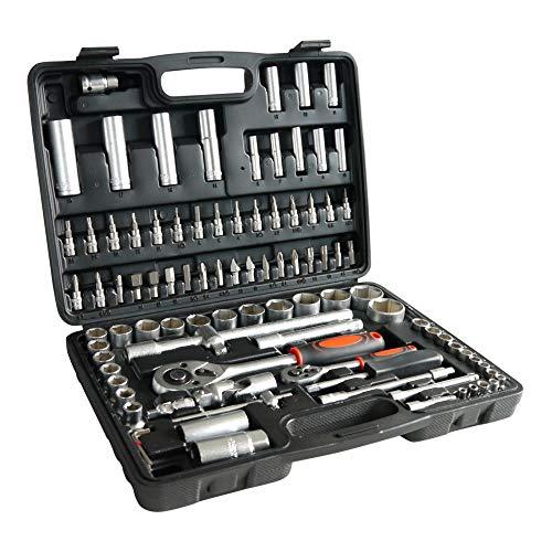 Grafner® Steckschlüsselsatz | 94 teilig | CrV | 1/2 und 1/4 Zoll | Quick Release Verriegelung | Einhand-Umschaltung | Knarrenkasten Steck Schlüssel Satz Werkzeugkasten