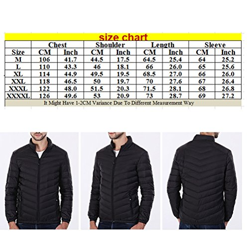 Zhhlinyuan Moda Men's Thin Warm Padded Jacket Stand Collar Lightweight Packable WaterResistant Kaki