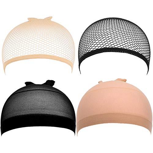 Gorros de peluca, malla elástica para mujeres y hombres, 6 unidades, color beige y negro
