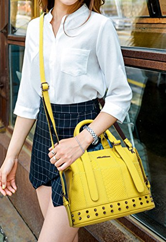 Keshi Pu Cool Damen Handtaschen, Hobo-Bags, Schultertaschen, Beutel, Beuteltaschen, Trend-Bags, Velours, Veloursleder, Wildleder, Tasche Zitronengelb