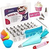 Homtrix 64-TLG. Spritztüllen Set - 2X Spritzbeutel Silikon mit 42x Edelstahl Tüllen + Cupcake Förmchen + 10x Einwegspritzbeutel - Backset für Tortendeko, Kuchen & Cupcakes
