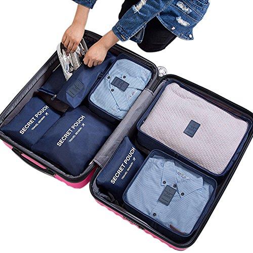 Belsmi Reise Kleidertaschen Set 7-teilig Reisetasche in Koffer Reisegepäck Organizer Kompression Taschen Kofferorganizer Mit Schuhbeutel (Dunkelblau)
