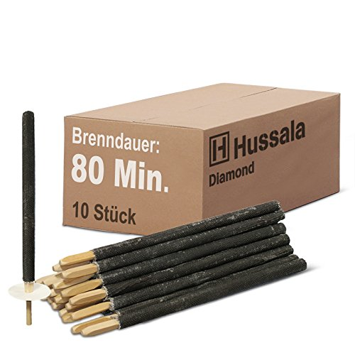 Hussala - Diamond Wachsfackeln Brennzeit 80 min Garten-Fackeln [10 Stück]