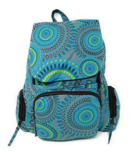 Mochila Hippie Etnica Mujer Chica Mandala Amplia 45 Cm x 30 Cm x 15 Cm Novedad AceMonkey (Blue Simbol)