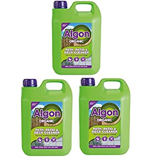 (3x2.5L) 7.5 Litre Algon Organic Path, Patio, Deck, Stone, Wood, UPVC Cleaner Concentrate. Covers 180 SQM covers
