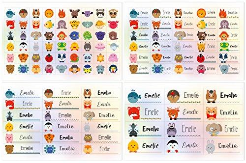 Kigima 114 Aufkleber Sticker Namens-Etiketten rechteckig Emelie Verschiedene Größen und Tiermotive