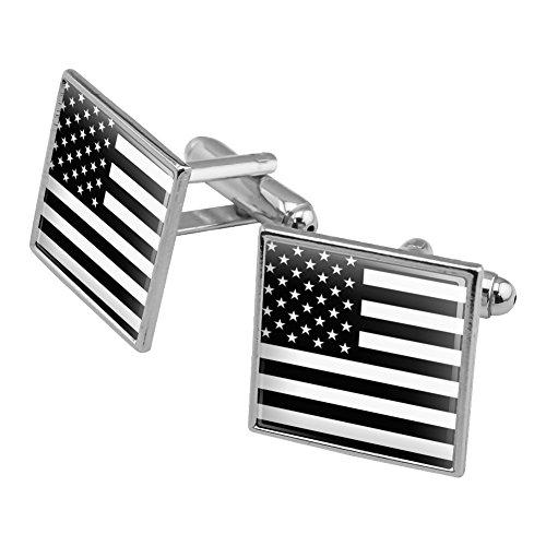 American USA Flagge Schwarz Weiß Gedämpfte Military Tactical Manschettenknöpfe, quadratisch Set Silber Farbe (Stud Military)