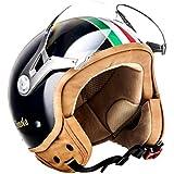 SOXON SP-325 Imola Black · Biker Cruiser Retro Vintage Scooter Vespa Mofa Helmet Chopper Casque Jet Bobber Demi-Jet Moto Pilot · ECE certifiés · visière inclus · y compris le sac de casque · Noir · M (57-58cm)