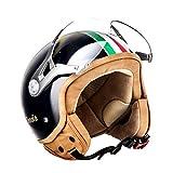 SOXON SP-325 Couleur · Bobber Biker Demi-Jet Moto Chopper Pilot Casque Jet Retro Helmet Vintage Vespa Scooter Cruiser Mofa · ECE certifiés · visière inclus · y compris le sac de casque · Blanc ·S (55-56cm)
