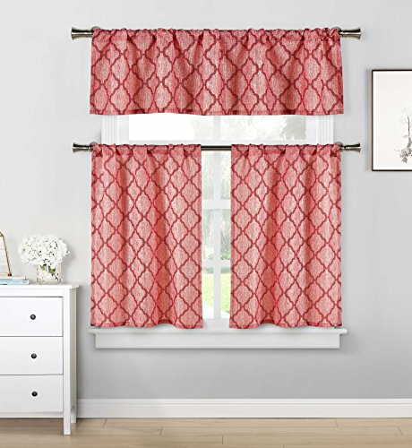 Home Maison - Luke Geometric Linen Textured Kitchen Tier & Valance Set | Small Window Curtain for Cafe, Bath, Laundry, Bedroom - (Burgundy Red)