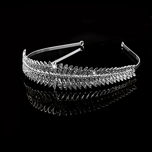 LEORX Diamantes de imitación Tiara nupcial de boda decorada hoja estilo diadema diadema (astilla)
