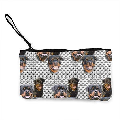 TTmom Damen Leinwand Geldbörse Portemonnaie Geldbeutel, Lady Rottweilers and Thistles Purse Clutch Bag Card Holder Key Wallet Pouches with Zip (Rottweiler Geldbörse)