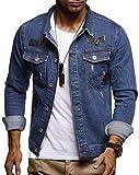 LEIF NELSON Herren Jeans-Jacke mit Knopf | Freizeitjacke Slim Fit | Das Beste in Kleidung Männer LN9570; Größe M, Blau