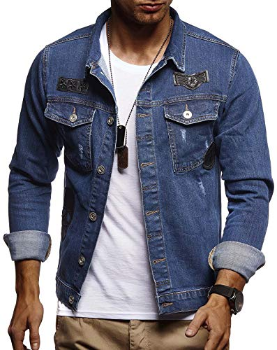 Leif Nelson Herren Jeans-Jacke mit Knopf Freizeitjacke Slim Fit Das Beste in Kleidung Männer LN9570; Größe L, Blau