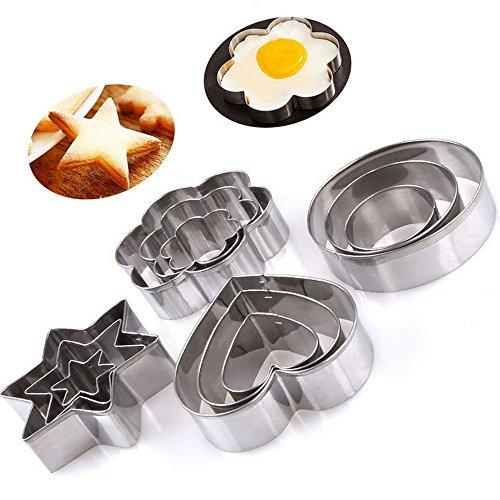 Youkara Ausstechformen, aus Edelstahl, 12-teiliges Set mit verschiedenen modernen Formen wie Stern, Blume, Kreis und Herz, ideal für Fondants, Kuchen, Kekse oder als Eisform
