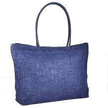 Gleader Donna borsa di paglia brosa Shopping Bag-In viaggio con zip borsa di spiaggia -- Blu scuro