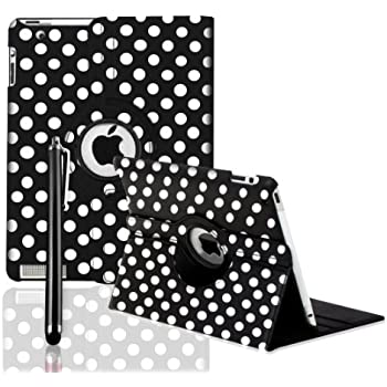 ROTATING 360 LEATHER CASE COVER + SCREEN PROTECTOR FOR APPLE IPAD 2 AND 3 AND IPAD 4 4TH GEN - BY SMARTPHONEZ_UK (BLACK POLKA)