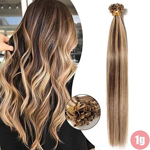 Extension capelli veri cheratina 1 grammo 50 ciocche balayage 100% remy human hair u tip nail keratin capelli lisci (40cm 50g #4/27 marrone cioccolato/biondo scuro)