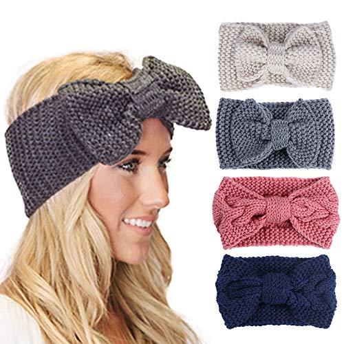 YMHPRIDE 4 Stücke Häkeln Stirnbänder für Frauen Mode Elastische Geflochtene Bowknot Kopf Wickeln Ohrwärmer