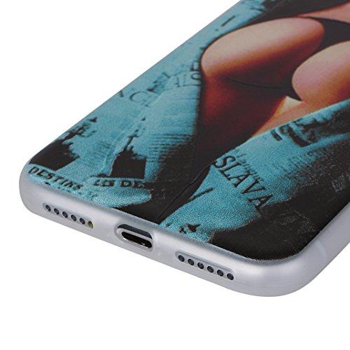 [2 Pezzi] Custodia iPhone X, iPhone 10 Caso Opaco, MeiC Power Custodia Ultra Sottile Silicone Case Molle di TPU Protettiva Custodia Cover Case per Apple iPhone X / iPhone 10 (5,8 Pollici) Cassa in Ril E-Sexy Girl