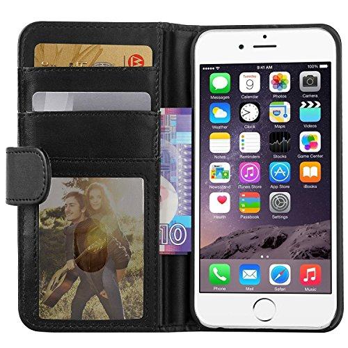iPhone 6S Hülle iPhone 6 Hülle, EnGive Ledertasche Schutzhülle Case Tasche mit Standfunktion & Karte Halter für iPhone 6 6s (schwarz)