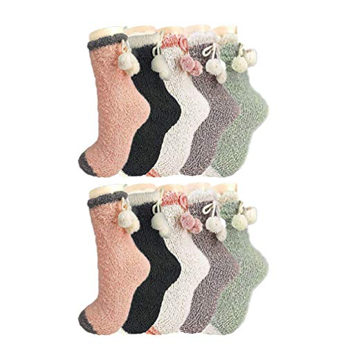 FENICAL 5 Pares Calcetines Piso Terciopelo Coral Patchwork