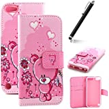 iPod Touch 6 Case,iPod Touch 5 Case,Flip Case for iPod Touch 6G / 5G - Ukayfe iPod Touch (5th / 6th Generation) Wallet Case - Colorful Flower Butterfly Animal Elephant Dandelion Design PU Leather Flip Protective Case Cover with Stand Folio Flip Leather Case for iPod Touch 5th / iPod Touch 6th Generation (2015) with 1 x Stylus (Pink Bear)