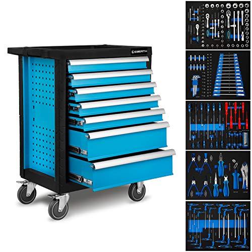 EBERTH Werkstattwagen inkl. Werkzeug (7 kugelgelagerte Schubfächer, 5 Schubladen mit Werkzeug bestückt, abschließbar, 4 Räder, Feststellbremse, pulverbeschichtet) - 9 Schubladen Werkzeug