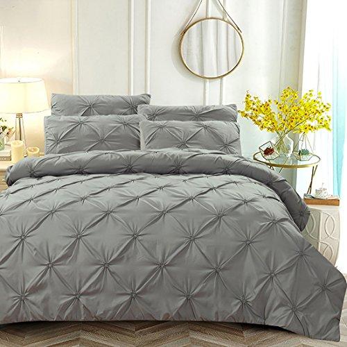 AISHUAIGE 3 TLG Bettwäsche einfarbig Feder Bettbezug Bettwäsche handgemachte Seide Blumenbezüge, 4 -