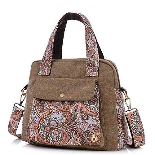 LYLb Nationale Wind Canvas kleine Handtasche - Blume Stoffbeutel, lässige Diagonaltasche, literarische Jugendtasche (Farbe : Braun)