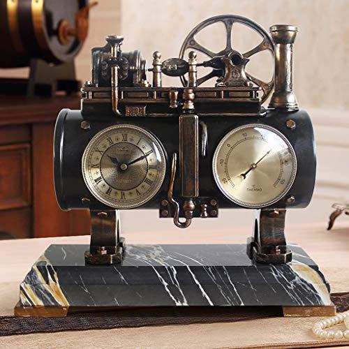 PLHMS Tabla Decorativa Reloj, Motor de Vapor Reloj del Escritorio, Cuarzo silencioso de la Vendimia...