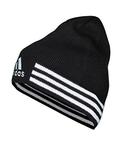 adidas Mütze 3S Power Beanie 3-Streifen Strickmütze (OSFW - Einheitsgröße für Damen, schwarz-weiß)