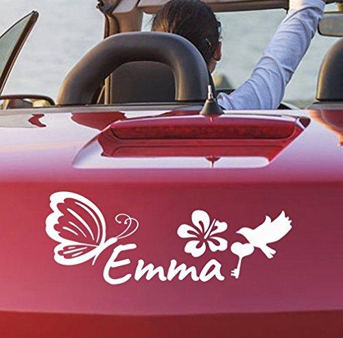tjapalo® 39 cm pka16 Autoaufkleber Baby Name Schmetterling Auto aufkleber mädchen mit Namen (Name-aufkleber Für Autos)