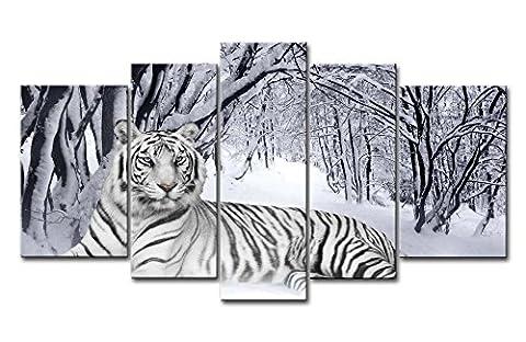 Impression sur toile Décoration murale Image pour Home Decor Tigre blanc dans la neige Forêt 5pièces peintures moderne giclée tendue et encadrée illustrations à l'huile l'animal photos Impressions Photo sur toile