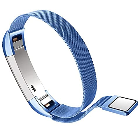 Fitbit Alta Smart Fitness tracker band par Wandlee, Milanaise Boucle Bracelet en acier inoxydable Sangle de remplacement Accessoires avec Unique Magnet Lock, pas de boucle Nécessaire, bleu